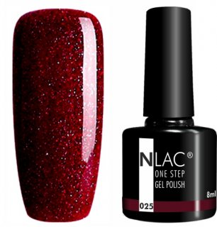 NLAC One Step gel lak 025 - Glitr rubínová